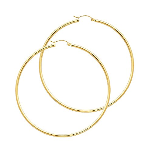 14k Yellow Gold 2mm Thickness Hinged Hoop Earrings (55 x 55 mm) 14k Yellow Gold Hinged Hoop Earrings