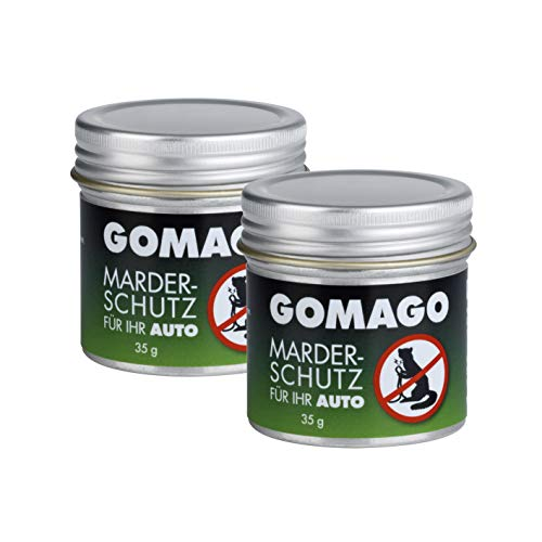 GOMAGO Marderschutz für Ihr Auto 2er Set | Zuverlässige und einfache Mardervergrämung durch Duftstoff | Alternative zu Marderschreck, Marderspray, Ultraschall u.ä. | Einfache Anwendung [2 x 35g]