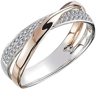 Huitan Two Tone X Shape Cross Ring for Women Wedding Trendy Jewelry Dazzling CZ Stone