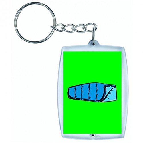 Druckerlebnis24 Schlüsselanhänger BLAU- Camping- Wohnung- SACCO A Pelo- EINFACHE- Schlafsack- Tourist in Grün | Keyring - Taschenanhänger - Rucksackanhänger - Schlüsselring