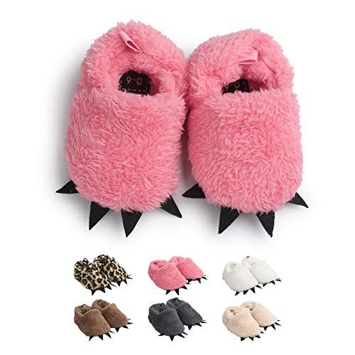 Zapatos de Garra Unisex, Lindo Dibujos Animados Invierno Animal Calentar Casa Antideslizante Suela Zapatillas Regalo para Bebés de 0 a 18 Meses (6-12 Meses, Rosado, Tamaño de Etiqueta 12)