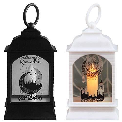 2Pcs Vintage Laterne Eid Ramadan LED Lampe Retro Wind Freien Hängende Laterne Dekorative Lichter für Festival Eid Mubarak Dekoration