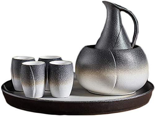 ZCY Ensemble à saké 7 pièces, Ensemble à saké Bicolore Noir et Blanc en céramique avec Pot Plus Chaud et Plateau, pour Froid/Chaud/Shochu/thé, Couleur Incroyable Meilleur Cadeau