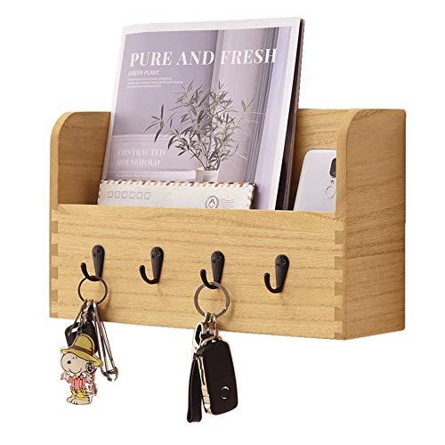 Clasificador de correo de madera de montaje en la pared con 4 ganchos de llaves Soporte para cartas vertical para el almacenamiento de llaves en casa y en la oficina Estante de pared Natural