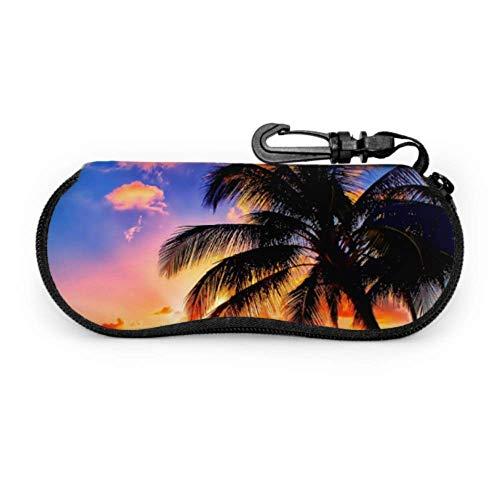 AEMAPE Orange Sunset View Seashore Beach Palms Tree Estuche para anteojos con lado blando Estuche para anteojos Estuche blando para anteojos con cremallera de neopreno portátil ligero