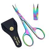 Nail Scissors,Cuticle scissors,eyebrow scissors Trimming Scissor for Nails and Cuticle Multi-Purpose, Manicure Scissors for Men and Women (Nail Scissors) (Titanium Rainbow)