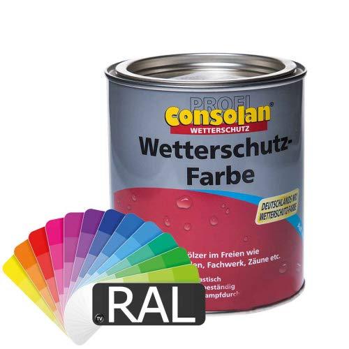 Consolan Profi Wetterschutzfarbe (RAL-Farben) 2,5l - Holzfarbe Holzschutzfarbe