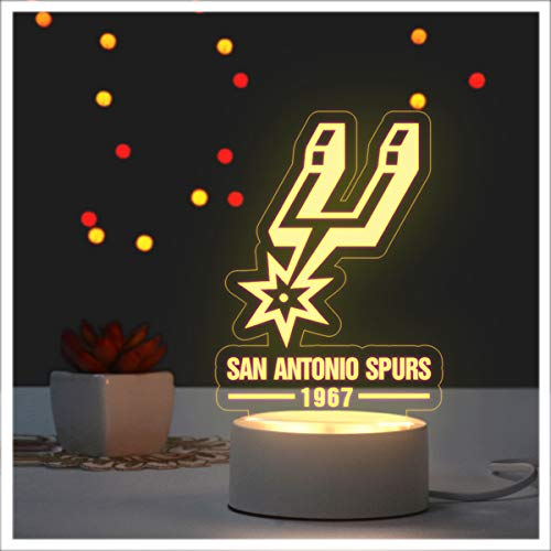 NBA San Antonio Spurs Led Night Light, Spurs Logo Table Lamp with USB Charging Cable,Touch Lamp for Adult Or Kids Best Birthdaygift