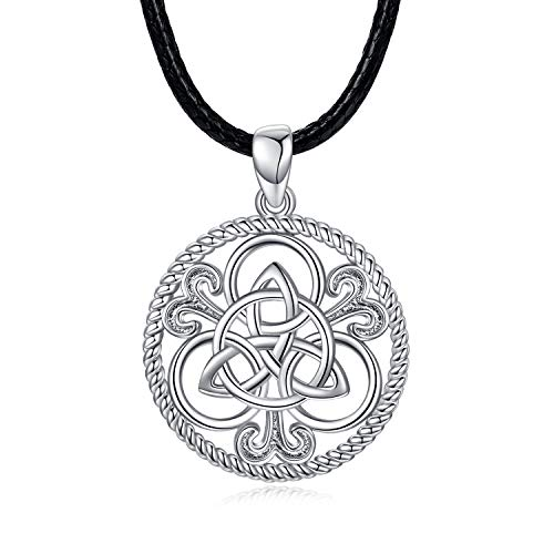 Collar con Colgante Nudo Celta de plata de ley 925 para hombres y mujeres, Collar con cordón de cuero negro con Colgante de Nudo Celta Irlandés para Amuleto Eterno e Infinito (Nudo Celta -1)