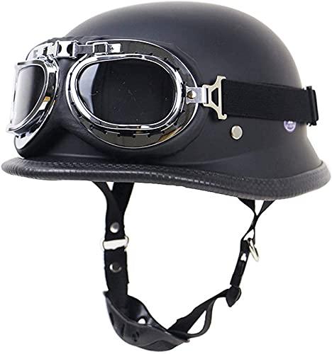 XLYYHZ Medio Casco para Montar al Aire Libre con Gafas, Casco de Moto Ligero Personalidad Bike Cruiser Medio Casco para Adultos Cascos de Ciclismo Todo Terreno Unisex (Color: Negro), Protecc