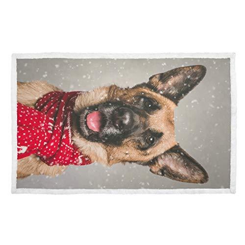 Hengpai Niedlicher Deutscher Schäferhund, rot gepunktet, Schal, Schnee, warmer Druck, Haustierdecke für Hunde, Decken