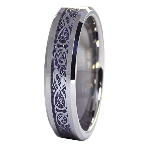 Fantasy Forge Jewelry Celtic Dragon Royal Purple 6mm Tungsten ing Womens Mens Wedding Band Size 6-9.5 (9.5)