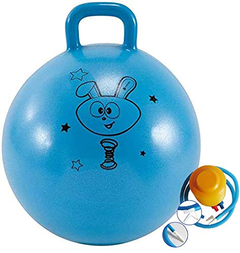 Jukusa Plastic Inflatable Bounce and Sit Rubber Hop Ball with Air Pump Space Hopper Jump Handle Ride-on Toy for Kids, Boys and Girls (Standard Size, Random Color)
