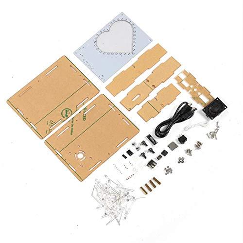 Socobeta Colorido LED Flash Diseño de Marco de Fotos Lámpara en Forma de corazón Durable Antidesgaste Caja de música Elegante Regalo de Kit de producción electrónica de Bricolaje