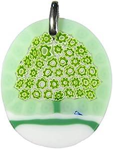 vianello nadia murrine Murrina - Colgante del árbol de la vida de cristal de Murano con montura de plata 925, collar tipo veneciano incluido Verde