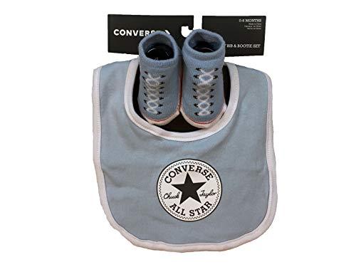Converse Infant Baby Chuck Taylor Booties & Bib Set (0-6 Months, Light Blue(LC0007-C1A)/White)