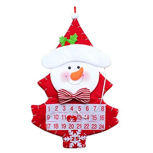 FBGood Calendario de Adviento de Papá Noel, con Cuenta atrás de Navidad, Calendario de Adviento, para Papá Noel, muñeco de Nieve, Cuenta atrás y Calendario, diseño de árbol de Navidad, b, B