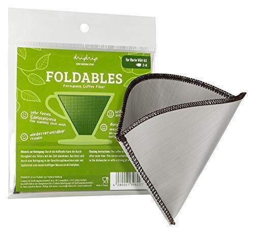 dripdrip FOLDABLES Dauerfilter für Pour Over Kaffee aus feinem Edelstahlnetz (für Hario 02, 1-4 Tassen)