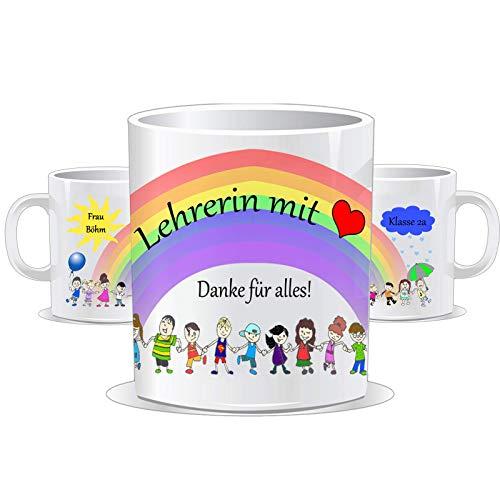 Tasse für die Lehrerin bzw. Lehrer mit Herz/Danke für alles/Personalisierbar mit dem Namen des Kindes, der Klasse und des/der Lehrer/in/Tassen Farbe wählbar