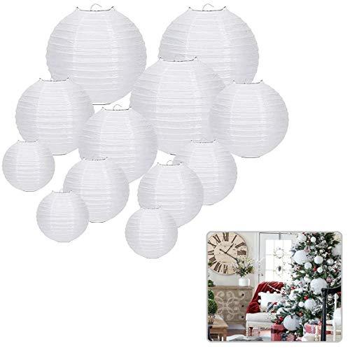 Voarge 12 Pcs Papier Laterne Lampions rund Lampenschirm Hochtzeit Dekoration Papierlaterne zum Dekorieren von Leuchten für Party Geburtstag und Hochzeit Dekoration (Weiß) (verschiedene Größen)