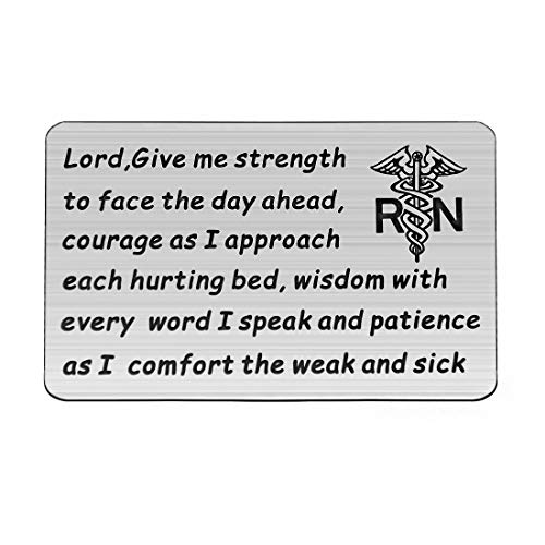 HOLLP Nurse Prayer Wallet Card Lord Give Me Strength Courage Wisdom Patience Gift for Nurse Nursing School Graduation Gift RN Jewelry (Silver)