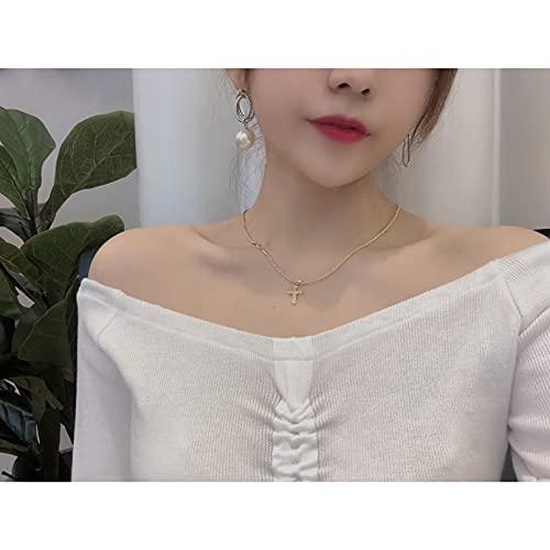 QiuYueShangMao Collar Colgante Zircon Pave Coconut Tree Blade Ángulo Hexagram Charm Collar de Cadena Trenzada Novia, Esposa, Hija, Madre