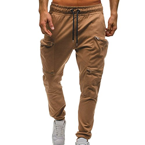 Celucke Jogginghose Herren Kordelzug Klassische Jogger Reißverschluss Taschen Sweat Hosen,Männer Freizeithosen Mode Elastische Baumwolle Bequem