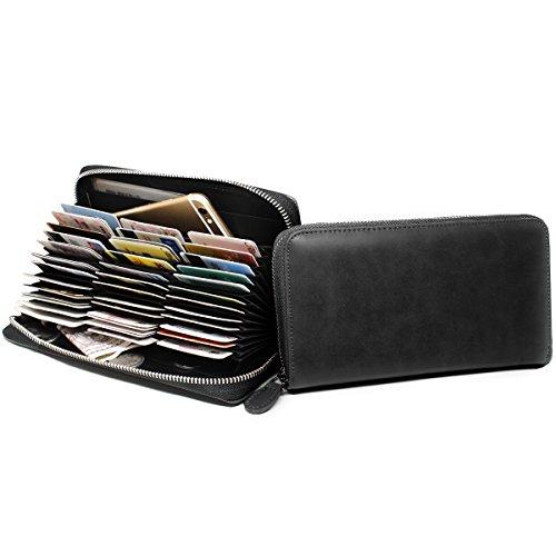 [imeetu] カードケース じゃばら L型 長財布 大容量 牛本革 磁気防止 スキミング防止 メンズ レディース(墨色)