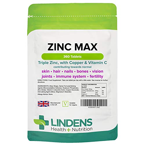 Lindens Zinc Max Tablets - Triple Zinc with Copper and Vitamin C - Immune System, Bones, Vision, Hair, Nails, and Skin - 360 Tablets