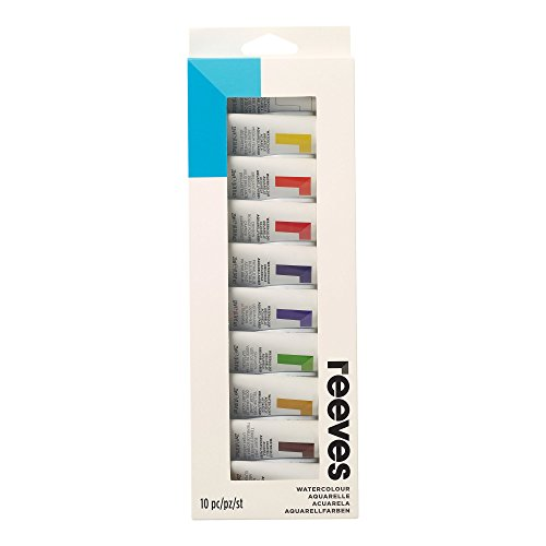 Reeves Watercolor Paint 22ml Tubes, Set of 10, Water Colour