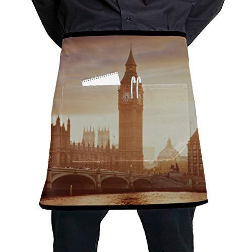 JINCAII Kellnerin Schürze für Männer London in der Abenddämmerung London Eye Rathaus Mädchen Küchenschürze mit großer Tasche Unisex für die Küche Handwerk Grill Zeichnung