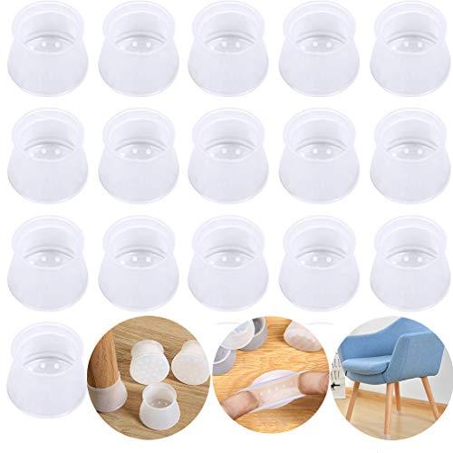 Stuhlbeinschoner aus Silikon, für runde und quadratische Stuhlbeine, Bodenschoner für Möbel, verhindert Kratzer und Lärm, ohne Spuren zu hinterlassen, 16 Stück, transparent
