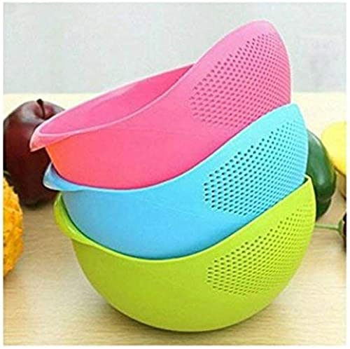 PRAMUKH FASHION Rice Pulses Fruits Vegetable Noodles Pasta Washing Bowl Strainer Good Quality Perfect Size For Storing And Straining Pack Of 3