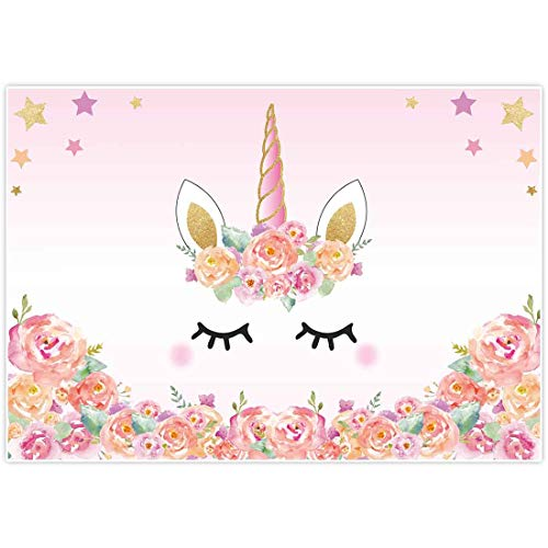 Allenjoy 7x5ft Unicorn Themed Birthday party banner photo backdrop background watercolor floral rose magical Gold Glitter stars baby shower dessert table