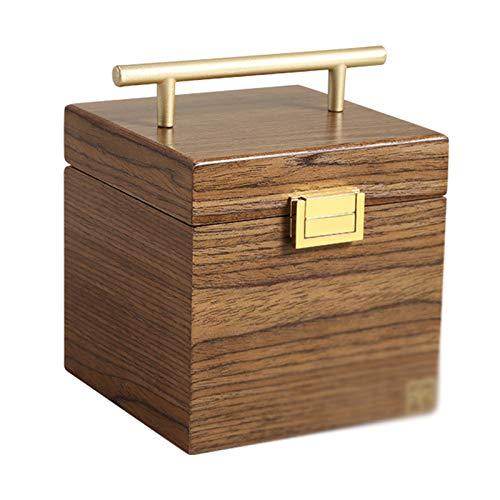 GYMEIJYG Caja De Almacenamiento De Reloj Caja De Reloj De Madera Joyero De Tres Capas con Espejo Cierre De Metal para Almacenamiento De Pendientes De Anillo