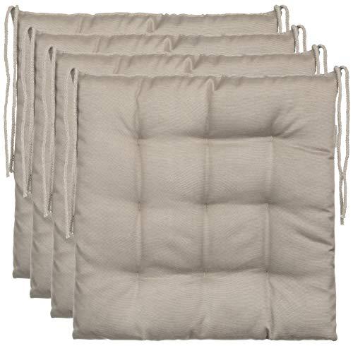 BrandssellerCojín decorativo de asiento para silla de jardín, 9 pespuntes, varios diseños, poliéster, pardo, 4er-Paket