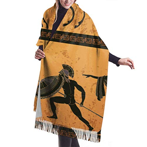 AOOEDM 27 'x77' Schal Schwarze Keramik Altgriechische Mythologie Mode Kaschmirschal Langer Schal Stilvolle große warme Decke