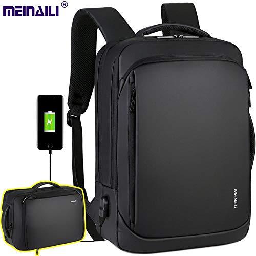 Kerr Louisa USB-Aufladungsrucksack 15,6 Zoll-Laptop-Taschen, männliches Geschäft Bagpacks imprägniern Multifunktionsreise-Rucksack-Rucksack for Männer (Farbe : Schwarz, Size : 17 Inche)