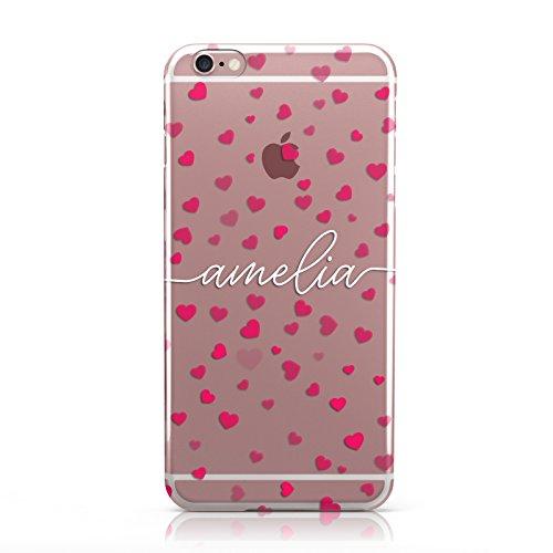 Hartschalenhülle für Mobiltelefone / Apple iPhone, Motiv Valentinstag, transparent, Kunststoff, 7. Liebe Herzen klar weiß Name, Apple iPhone 6 Plus / 6s Plus