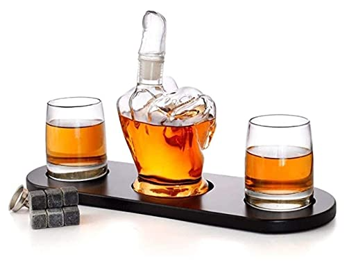 Decantador Conjunto de decantadores de licor, conjuntos de accesorios de vino reutilizables con 2 PCS Gafas Mano soplado vidrio grabado Original Crystal Decanters Ideal para entretener y regalar Decan