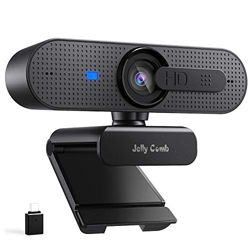 Jelly Comb PC Webcam 1080P HD con Micrófono, para Mac Windows Videollamadas Conferencias de FaceTime Skype Zoom, Enfoque Automático Y cubierta de Privacidad Cámara Web, con adaptador tipo C, Negro