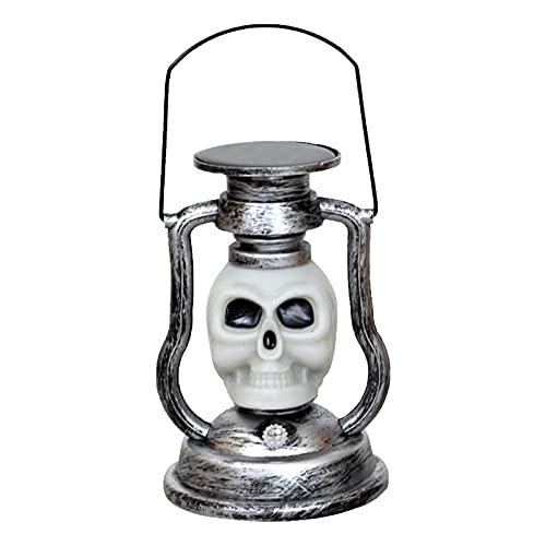 Farol solar portátil de calabaza de Halloween con luz LED de calavera para uso en fiestas retro de Halloween