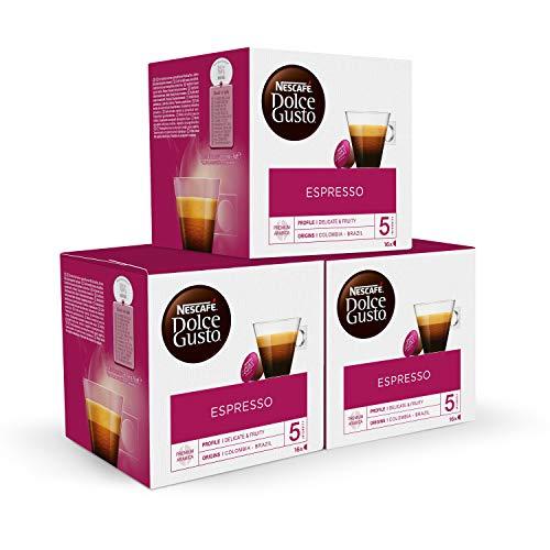 Nescafé DOLCE GUSTO Café ESPRESSO, Pack de 3 x 16 Cápsulas - Total: 48 Cápsulas