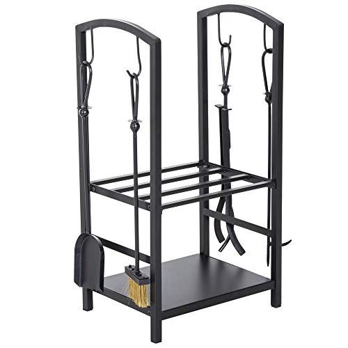 Outsunny Serviteur de cheminée - Porte bûches - Range bûches Multi Accessoires 2 étagères 40L x 30l x 75H cm Acier Noir