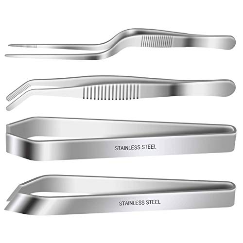 """4 Pieces Fish Bone Tweezers Set, Two 4.6"""" Stainless Steel Tweezer and Two 5.5″ Tongs for Cooking Food Design styling."""