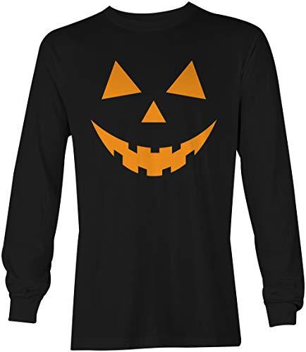 Tcombo Black Pumpkin Face - Halloween Teeth Long Sleeve Mens T-shirt,Black Ls Shirt - Orange Design,Medium