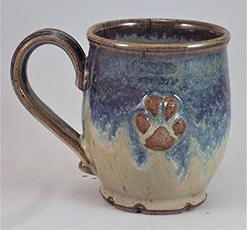 Midnight Sun Pottery Coffee Mug Dog Paw  Blue Ridge Beige