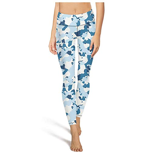 Medssii Womens Camouflage Blue White Yoga Pants Tummy Hips Yoga Leggings with Pockets