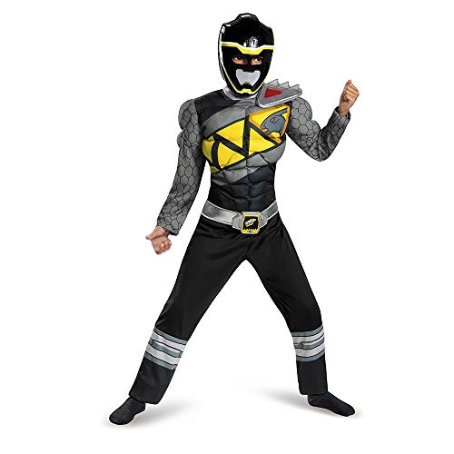 Black Power Rangers Costume for Kids. Official Licensed Black Ranger Dino Charge Classic Muscle Power Ranger Suit with Mask for Boys & Girls