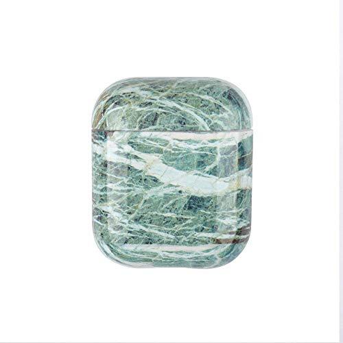Herbests Kompatibel mit Apple AirPods 1 & 2 Hülle Schutzhülle Marmor Muster Case Glänzend Bling Gloss Marble AirPods Case Hülle Silikon Anti-Kratz Stoßfeste Schutzhülle Soft Hülle Tasche,Grün